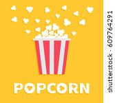 popcorn popping. red yellow... | Shutterstock .eps vector #609764291