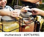 Little Boy Selling Lemonade At...