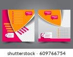 square flyer template. brochure ... | Shutterstock .eps vector #609766754