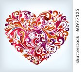 abstract floral heart | Shutterstock .eps vector #60977125