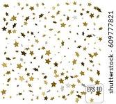 3d gold stars. confetti...   Shutterstock .eps vector #609777821