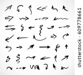 hand drawn arrows  vector set | Shutterstock .eps vector #609778661