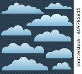 set of clouds in blue sky | Shutterstock .eps vector #609782615
