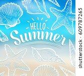 hello summer hand sketched... | Shutterstock .eps vector #609787265