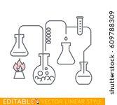 chemistry. editable line sketch.... | Shutterstock .eps vector #609788309