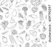 hand drawn graphic seamless... | Shutterstock . vector #609790397