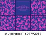 set of 5 vector abstract pink... | Shutterstock .eps vector #609792059