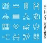 corporate icons set. set of 16... | Shutterstock .eps vector #609794741