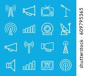 broadcast icons set. set of 16... | Shutterstock .eps vector #609795365