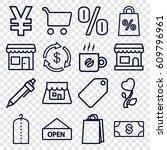 shop icons set. set of 16 shop... | Shutterstock .eps vector #609796961