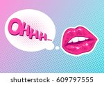 pop art woman lips. sexy mouth. ... | Shutterstock .eps vector #609797555