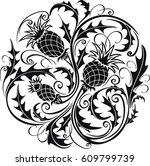 beautiful black and white round ... | Shutterstock .eps vector #609799739