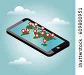mobile phone geo location.... | Shutterstock .eps vector #609800951