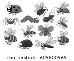 bugs and insects of bee or... | Shutterstock .eps vector #609800969