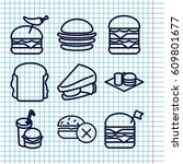Set Of 9 Hamburger Outline...