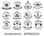 bakery desserts and cakes icons ... | Shutterstock .eps vector #609802241