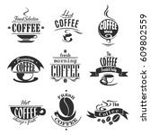 coffee shop icons of coffee...   Shutterstock .eps vector #609802559