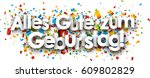 happy birthday paper banner... | Shutterstock .eps vector #609802829