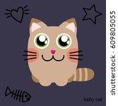 cute cat character. cartoon...   Shutterstock .eps vector #609805055