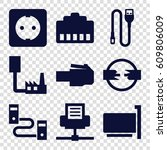 connector icons set. set of 9...