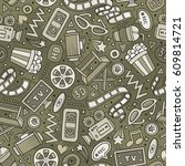 cartoon cute hand drawn cinema... | Shutterstock .eps vector #609814721