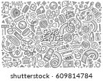 vector line art hand drawn... | Shutterstock .eps vector #609814784