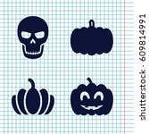 set of 4 halloween filled icons ... | Shutterstock .eps vector #609814991