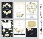 vintage wedding invitation set... | Shutterstock .eps vector #609815225