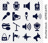 voice icons set. set of 16... | Shutterstock .eps vector #609816491