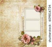 vintage background with frames... | Shutterstock . vector #609816734