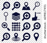 search icons set. set of 16... | Shutterstock .eps vector #609817451