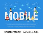 mobile devices usage concept... | Shutterstock .eps vector #609818531