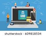 mobile banking concept... | Shutterstock .eps vector #609818534
