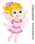 fairy in a pink dress with... | Shutterstock .eps vector #609818831