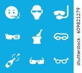 glasses icons set. set of 9... | Shutterstock .eps vector #609821279