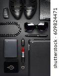 woman accessories in business... | Shutterstock . vector #609824471