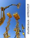 scissor lift platform  cherry... | Shutterstock . vector #609824519