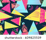 memphis seamless pattern.... | Shutterstock .eps vector #609825539