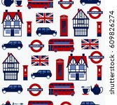 seamless pattern with english... | Shutterstock .eps vector #609826274