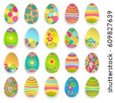 set of paper easter eggs with... | Shutterstock . vector #609827639