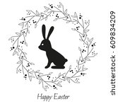 floral frame with rabbit icon... | Shutterstock .eps vector #609834209