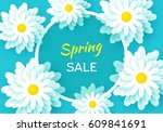 spring sale banner with paper... | Shutterstock .eps vector #609841691