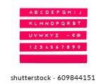 embossed alphabet on pink... | Shutterstock . vector #609844151