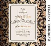 antique baroque luxury wedding... | Shutterstock .eps vector #609844565