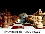 chess figures against  glass...   Shutterstock . vector #609848111