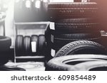 tires for sale at a tire store... | Shutterstock . vector #609854489