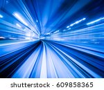 blue background of train moving ... | Shutterstock . vector #609858365