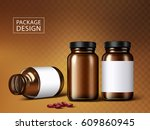 medicine jars and capsules ... | Shutterstock .eps vector #609860945