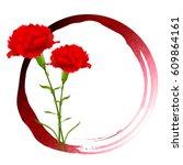 mother's day carnation spring... | Shutterstock .eps vector #609864161