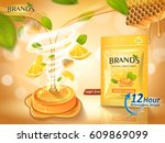 lemon honey flavor throat drops ... | Shutterstock . vector #609869099